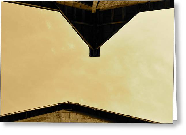 J.d. Grimes Greeting Cards - Two Barns in sepia Greeting Card by JD Grimes