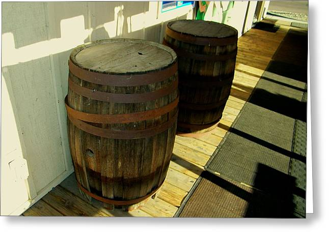 Greeting Card featuring the photograph Two Barrels by Lenore Senior