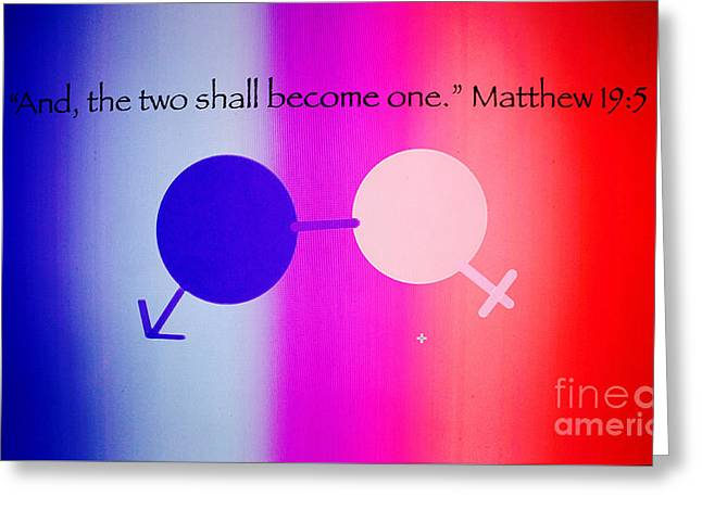 Two Become One Greeting Card by Raul Diaz