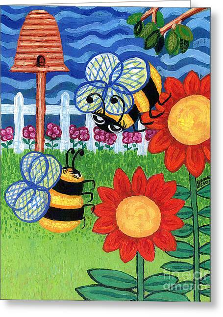 Plant Stretched Canvas Greeting Cards - Two Bees With Red Flowers Greeting Card by Genevieve Esson