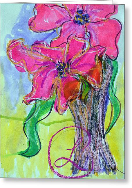 Two Big Pink Blooms Greeting Card