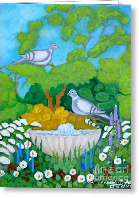 Two Birds At The Fontain    Greeting Card by Anna Folkartanna Maciejewska-Dyba