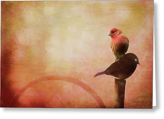 Two Birds In The Mist Greeting Card