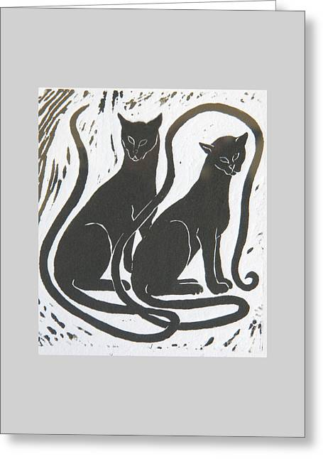 Two Black Felines Greeting Card