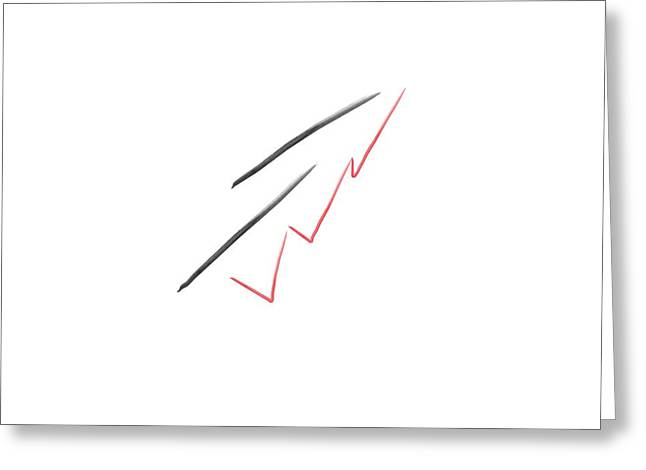 Two Black Marks And A Red Scribble Minimalist Art Greeting Card by Eloise Schneider