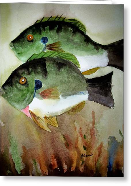 Two Bluegills Greeting Card by Audrey Bunchkowski