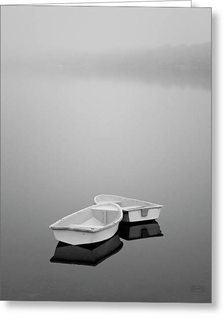 Two Boats And Fog Greeting Card