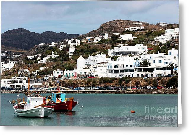 Two Boats In The Mykonos Harbor Greeting Card by John Rizzuto