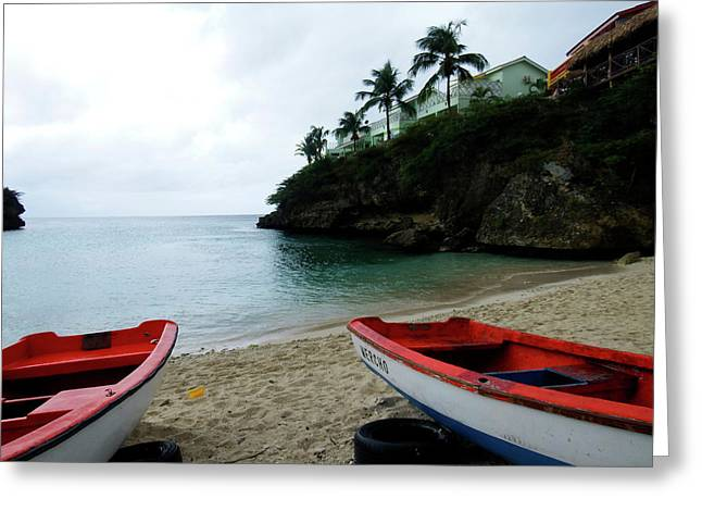 Greeting Card featuring the photograph Two Boats, Island Of Curacao by Kurt Van Wagner