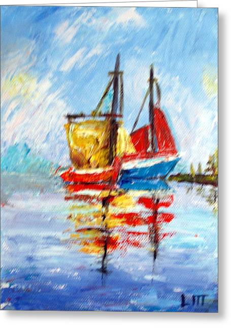 Two Boats Greeting Card by Lia  Marsman