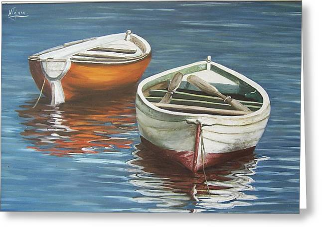 Greeting Card featuring the painting Two Boats by Natalia Tejera