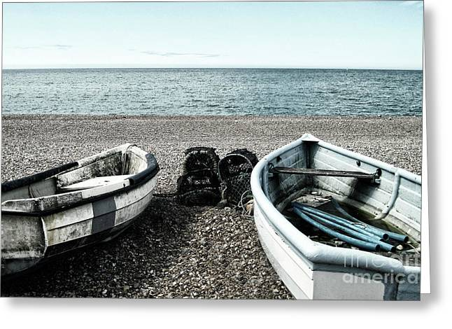 Two Boats On Seaford Beach Greeting Card