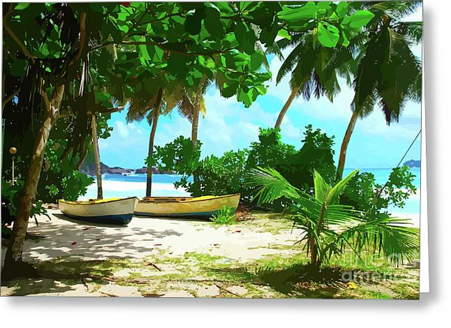 Two Boats On Tropical Beach Greeting Card