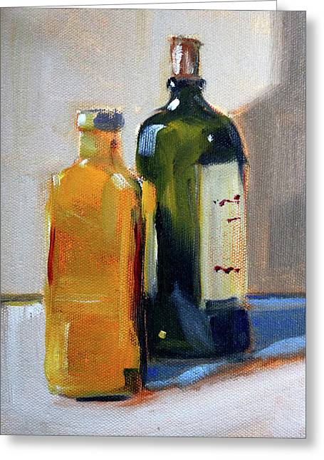 Greeting Card featuring the painting Two Bottles by Nancy Merkle