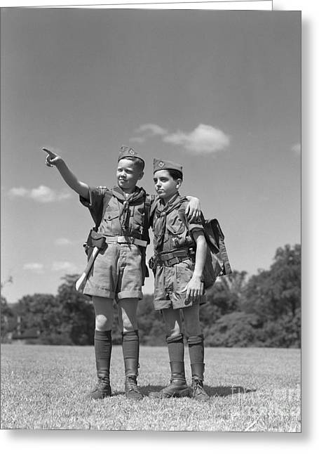 Two Boy Scouts, C.1950s Greeting Card