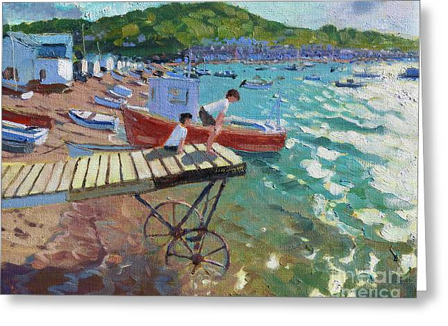 Two Boys On The Landing Stage, Teignmouth Greeting Card by Andrew Macara
