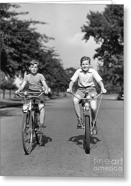 Two Boys Riding Bikes, C.1930-40s Greeting Card by H. Armstrong Roberts/ClassicStock
