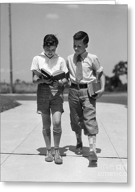 Two Boys Walking To School Reading Greeting Card by H. Armstrong Roberts/ClassicStock