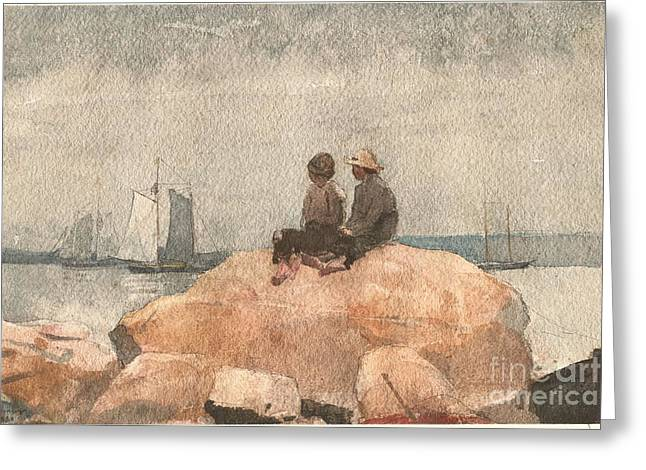 Two Boys Watching Schooners Greeting Card by Celestial Images