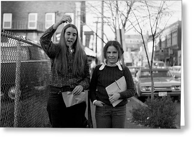 Two Brown Students, Thayer Street, Providence, 1972 Greeting Card