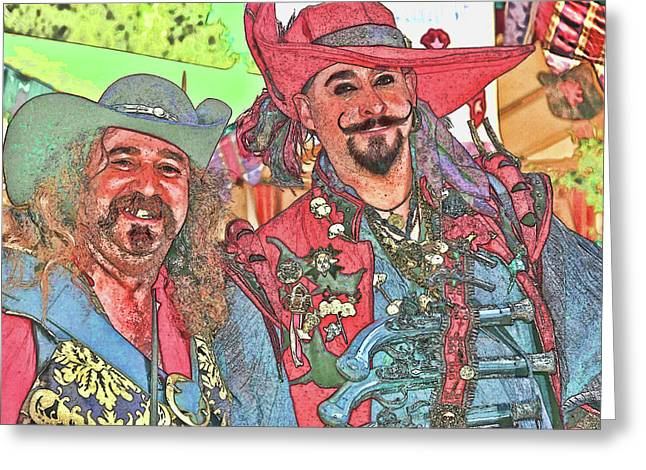 Two Buccaneers Greeting Card by Clarence Alford