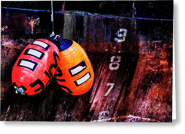 Two Buoys Left Of Depth Greeting Card