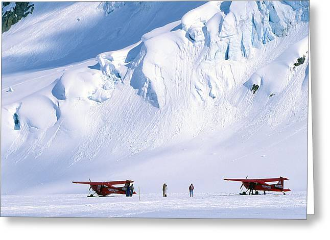 Mature Men Greeting Cards - Two Bush Pilots Stand Greeting Card by Kate Thompson