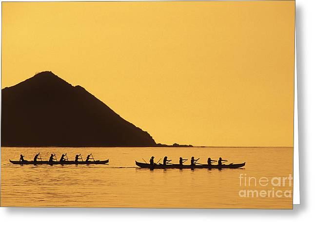 Two Canoes Silhouetted Greeting Card by Dana Edmunds - Printscapes