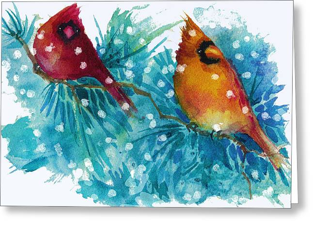 Two Cardinals Greeting Card by Peggy Wilson