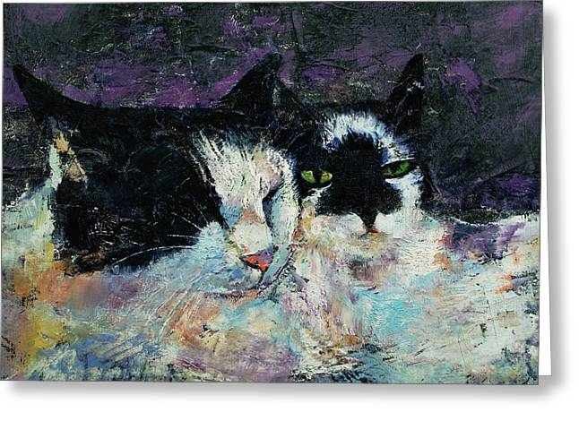 Two Cats Greeting Card by Michael Creese