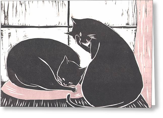 Linoleum Greeting Cards - Two Cats Greeting Card by Mui-Joo Wee