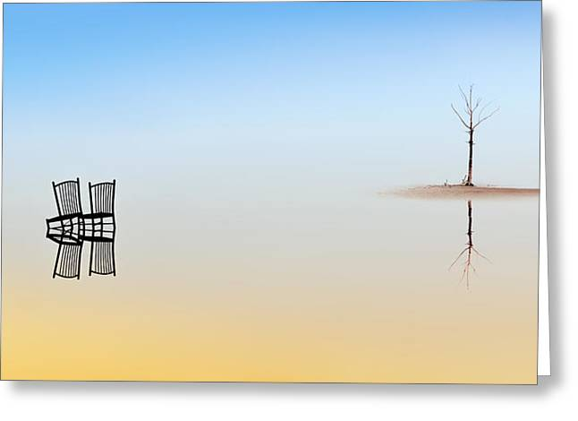 Two Chairs And A Tree Greeting Card by Juan Luis Duran