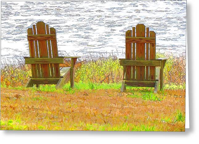 Two Chairs Facing The Lake Greeting Card by Lanjee Chee