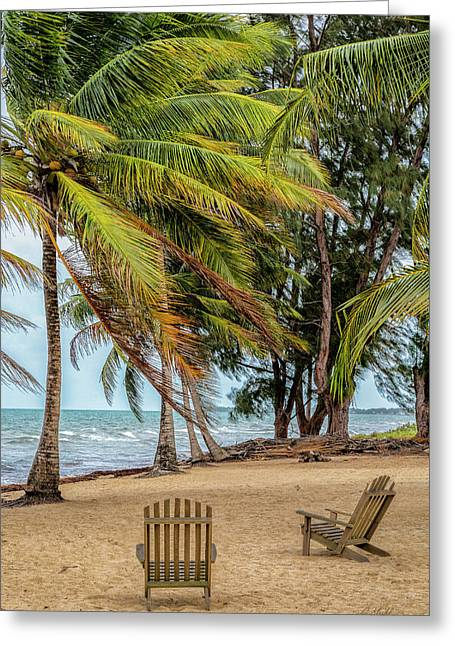 Two Chairs In Belize Greeting Card