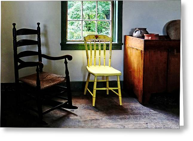 Two Chairs In Kitchen Greeting Card by Susan Savad