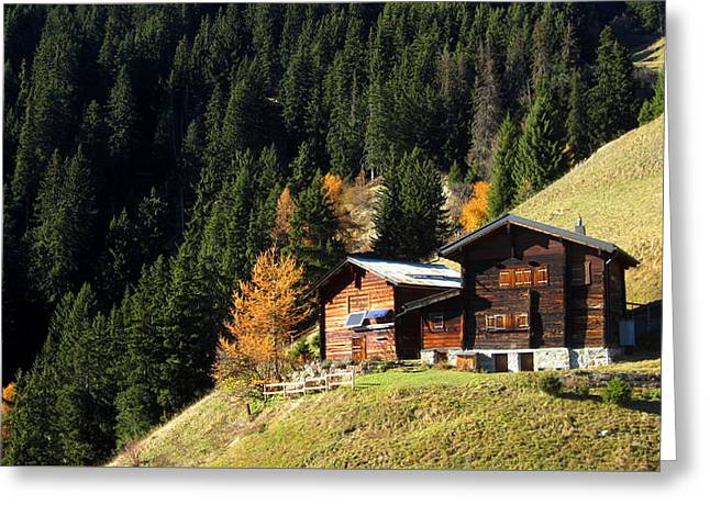 Two Chalets On A Mountainside Greeting Card