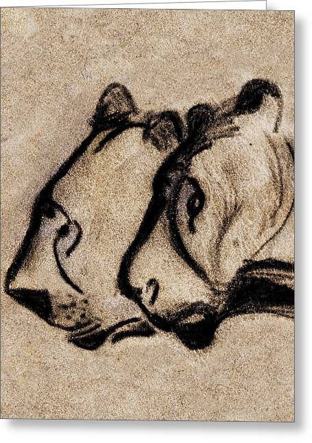 Two Chauvet Cave Lions - Vertical Version Greeting Card