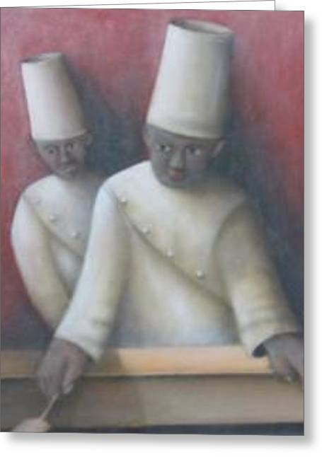 Two Chefs Greeting Card by Alfredo DeCurtis