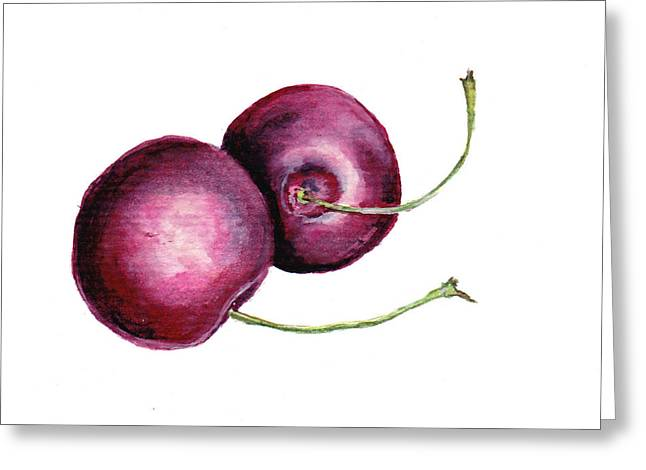 Greeting Card featuring the painting Two Cherries by Heidi Kriel