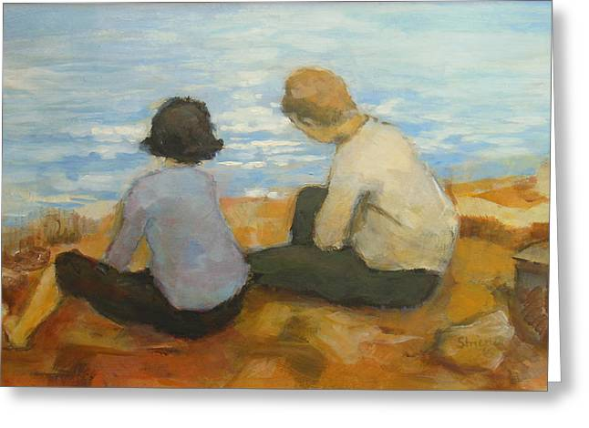 Two Children By The Sea 2 Greeting Card