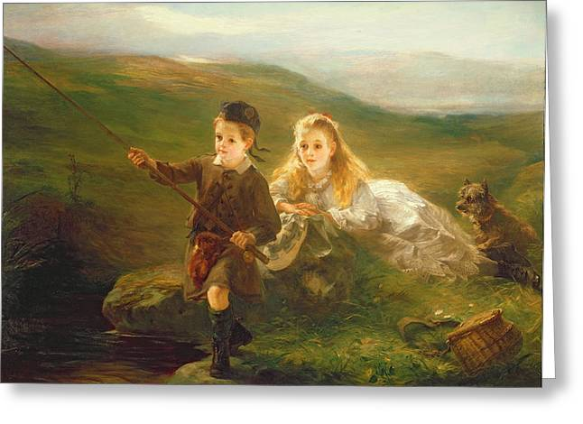 Little Sister Greeting Cards - Two Children Fishing in Scotland   Greeting Card by Otto Leyde