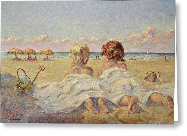Two Children On The Beach Greeting Card