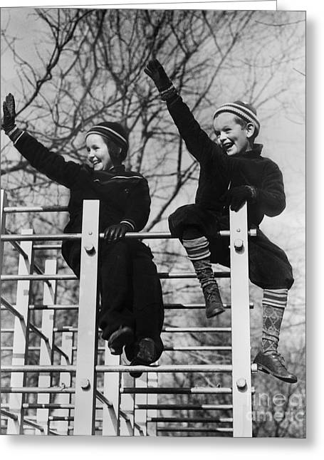 Two Children Waving From Play Greeting Card by H. Armstrong Roberts/ClassicStock