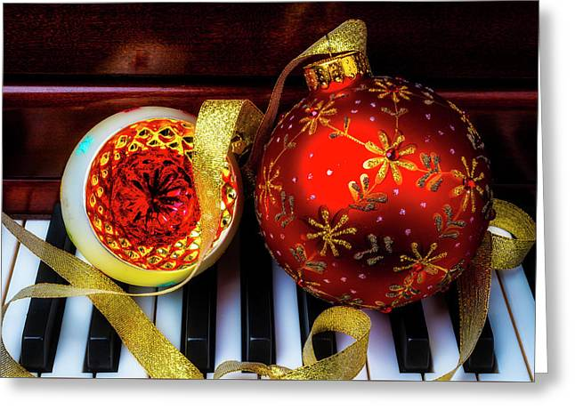 Celebrating christmas greeting cards page 4 of 114 fine art america two christmas ornaments on piano greeting card m4hsunfo