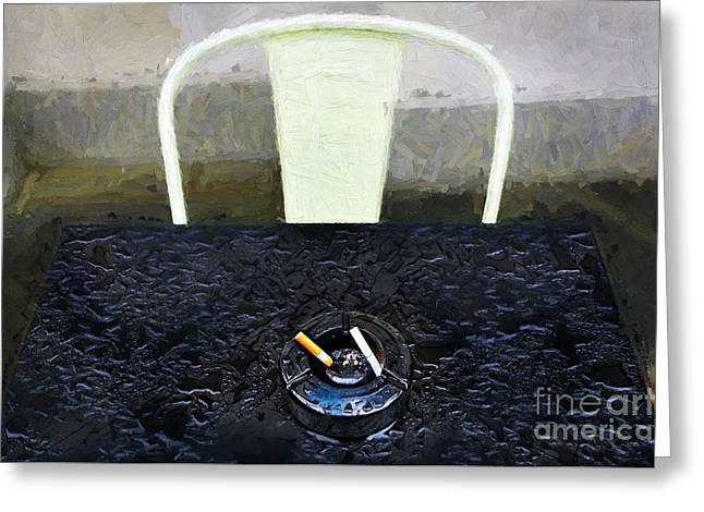 Greeting Card featuring the photograph Two Cigarettes With White Chair by Craig J Satterlee