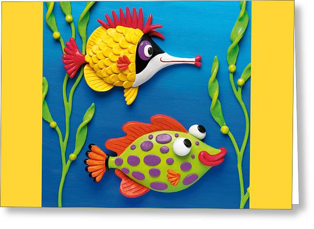 Yellow Fish Mixed Media Greeting Cards - Two Clay Art Tropical Fish Greeting Card by Amy Vangsgard