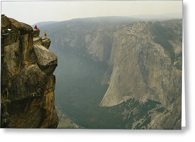 Two Climbers Take In The View Greeting Card by Bill Hatcher