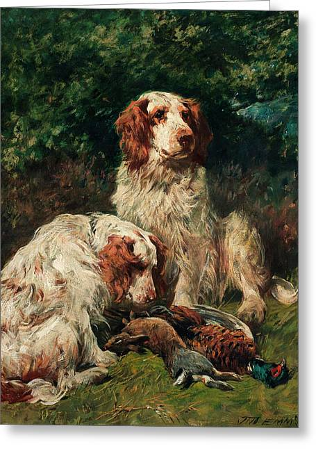 Two Clumber Spaniels With Game In A Landscape Greeting Card