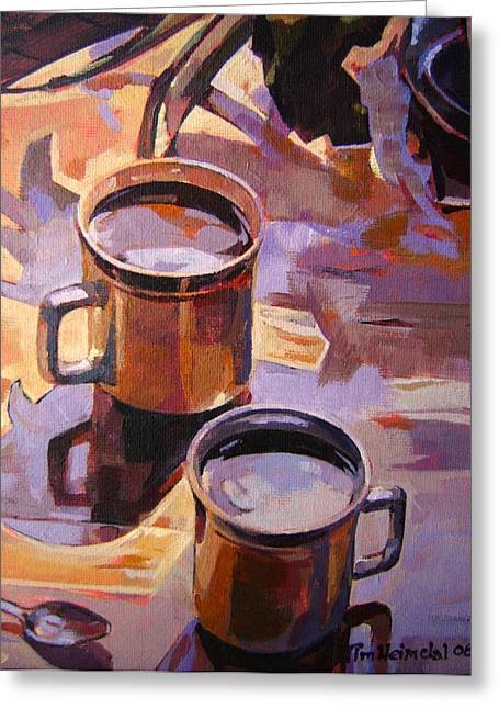 Greeting Card featuring the painting Two Coffees Take 2 by Tim  Heimdal