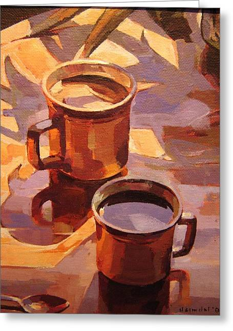 Greeting Card featuring the painting Two Coffees by Tim  Heimdal